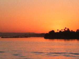 view of the nile at sunset 